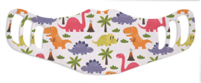Kids Girls Dinosaurs - White Face Mask